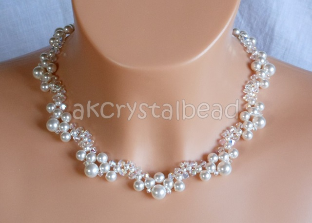 Swarovski White Pearl Bridal Necklace Woven Bridal
